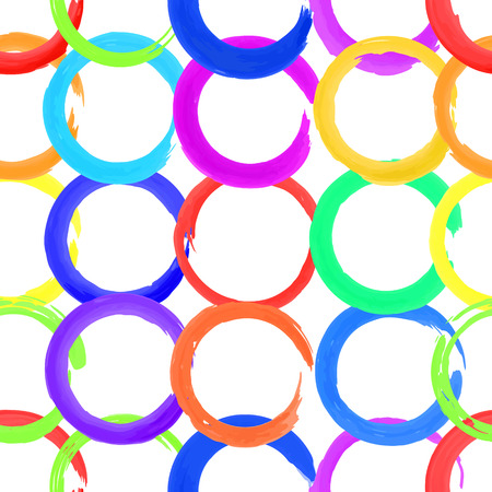 Bright colorful watercolor circles, seamless pattern for background. Vector illustration.