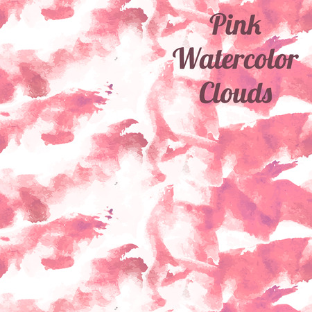 Watercolor pink clouds background for web. Vector illustration. Vector