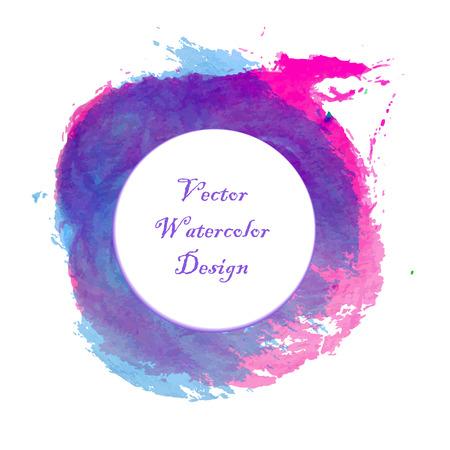 Blue, pink and magenta paintbrush circle vector frame. Ilustração