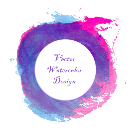 Blue, pink and magenta paintbrush circle vector frame. Illustration