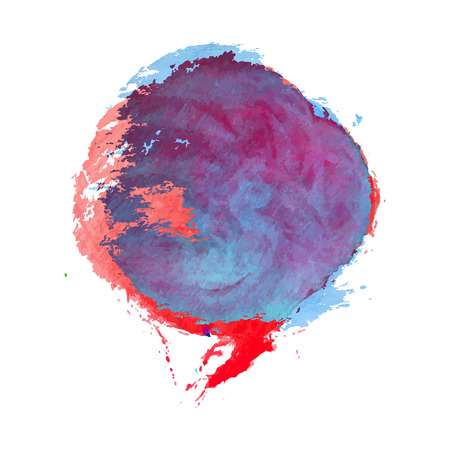 smashed paper: Red and Blue Smashed Watercolor Texture Background. Hand drawn vector circle.