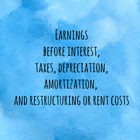 restructuring: Word Cloud Concept for Earnings before interest, taxes, depreciation, amortization, and restructuring or rent costs