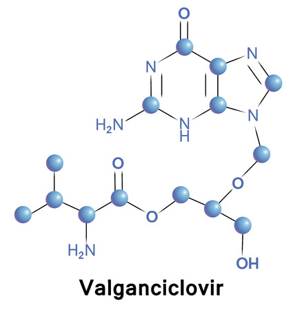 simplex: Valgancyclovir antiviral treatment for herpes zoster. Chemical formula for medical presentation. Vector illustration. Illustration