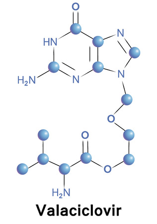 Valaciclovir antiviral treatment for herpes zoster. Chemical formula for medical presentation. Vector illustration.