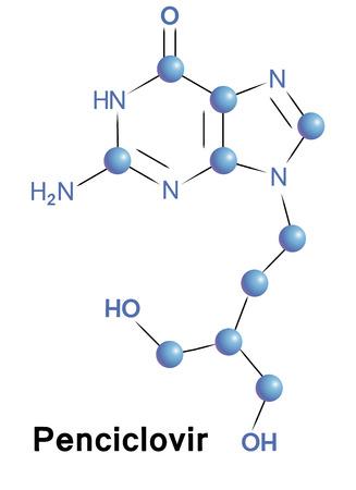 immunodeficiency: Penciclovir antiviral treatment for herpes zoster. Chemical formula for medical presentation. Vector illustration. Illustration
