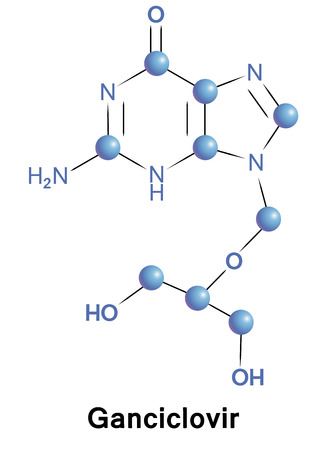 antiviral: Ganciclovir antiviral treatment for herpes zoster. Chemical formula for medical presentation. Vector illustration.