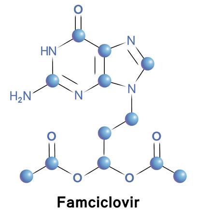 herpes: Famciclovir antiviral treatment for herpes zoster. Chemical formula for medical presentation. Vector illustration. Illustration