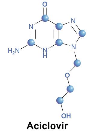 Aciclovir antiviral treatment for cmv, herpes simplex and zoster. Chemical formula for medical presentation. Vector illustration. Vector