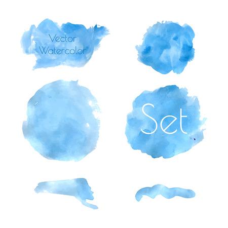 Blue watercolor set Ilustração