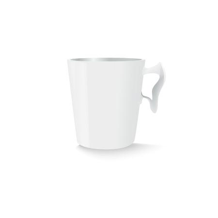 giveaway: Plantilla de la taza blanca para su comercializaci�n. Ilustraci�n hecha en el vector.