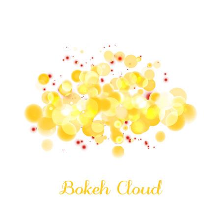 fireside: Gold bokeh cloud lights for festive web banner.
