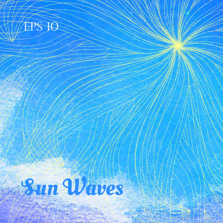 Sun waves concept. Blue watercolor horison lune with abstract sun rays. Vector illustration.