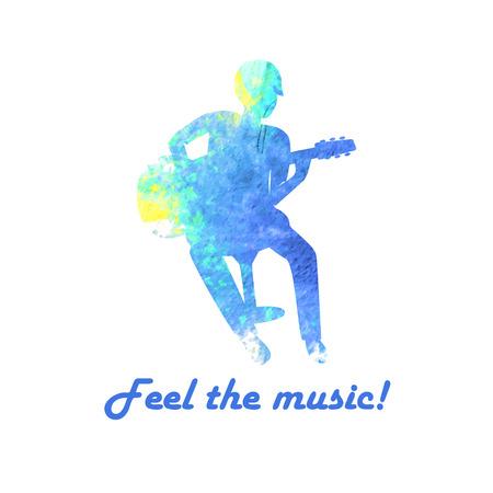 Watercolor gitar player