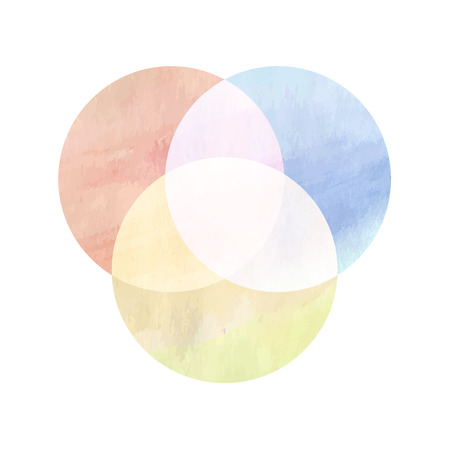 color spectrum: Watercolor painting multiplied for color spectrum. Circles can be edited. Vector illustration.