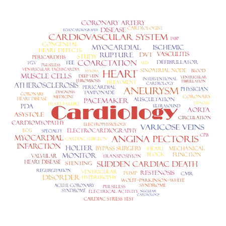 angina: Cardiology branch of medicine and related words tag cloud concept. Vector illustration.