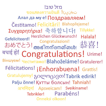 Congratulations. Word collage on white background, illustration made in vector . Vector