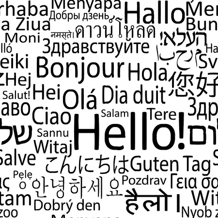 Hello in different languages of the world, seamlees background pattern. Vector illustration.