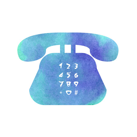 developers: Watercolor retro phone icon for web developers. Vector illustration.