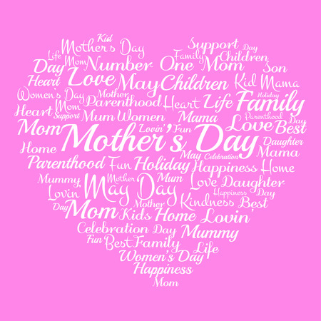 Mother's Day in May, related words tags concept  Vector illustration