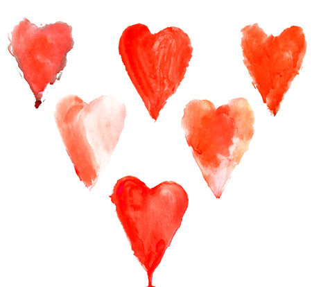 Red watercolor hearts set for design projects. Vector illustration.