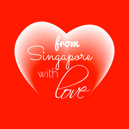 From Singapore with love text icon for romantic projects.  Illustration