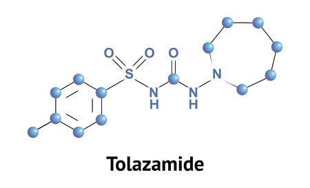 apoptosis: Tolazamide es derivado de sulfonilurea, clase de f�rmacos antidiab�ticos que se utilizan en el tratamiento de la diabetes mellitus tipo 2. Vector ilustraci�n m�dica.