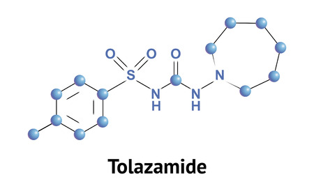 apoptosis: Tolazamide is sulfonylurea derivative, class of antidiabetic drugs that are used in the management of diabetes mellitus type 2. Vector medical illustration.
