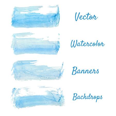white bacground: Manchas de acuarela azul Conjunto, abstractos aislados manchas vectoriales.
