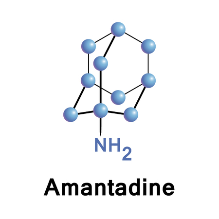 antiviral: Amantadine is a drug for use both as an antiviral and an antiparkinsonian drug. Medical vector illustration.