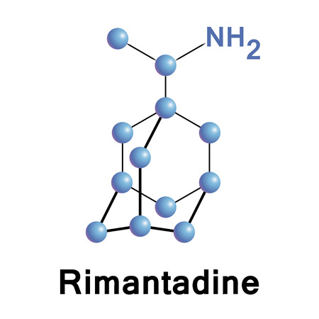 Rimantadine is an orally administered antiviral drug used to treat influenzavirus A infection. Medical vector illustration.