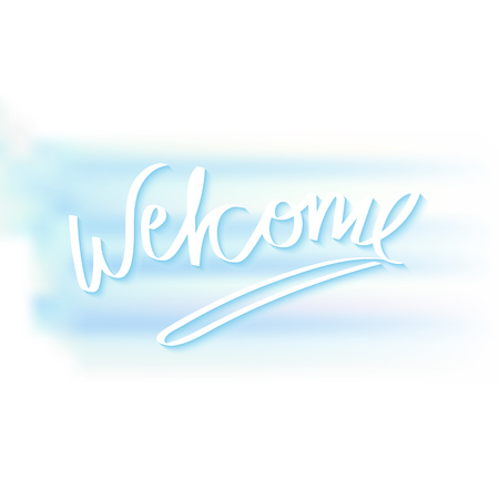 hand writing: Welcome hand writing greetings for banner design made in vector. Illustration