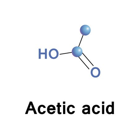 Acetic acid,  ethanoic acid, is the second simplest carboxylic acid, an important chemical reagent and industrial chemical, used in the production of cellulose acetate, as well as synthetic fibres and fabrics, in cosmetics and food industry. Vector molecu