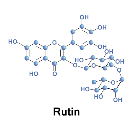 synthesis: Rutin, rutoside, quercetin-3-O-rutinoside or sophorin, is the glycoside between the flavonol quercetin and the disaccharide rutinose. In the fava danta tree, the synthesis is done via a rutin synthase activity. Vector conventional skeletal formula. Illustration