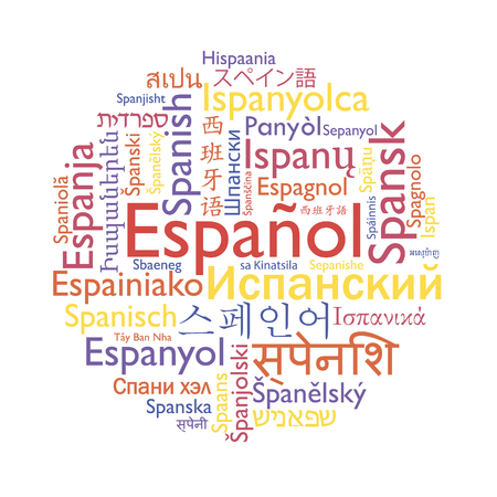 Spanish language in foreign languages. Educational vector word collage.