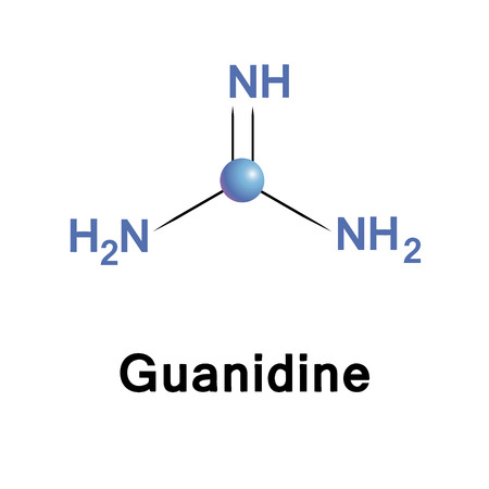 Guanidine is the biochemical compound. It is a colourless solid that dissolves in polar solvents. Guanidine hydrochloride is known to denature proteins. Illustration
