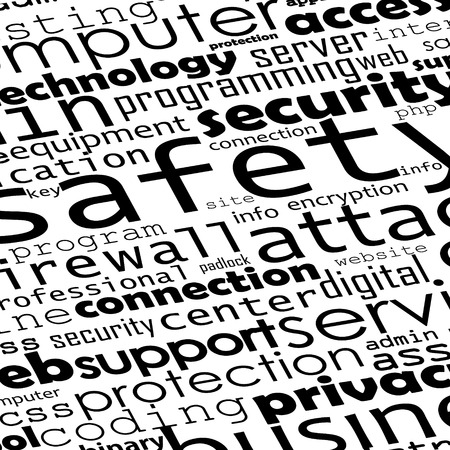 programer: Safety of programming, black and white vector tag cloud. Illustration