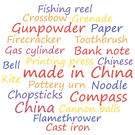 made in China tag cloud concept, vector illustration. Illustration