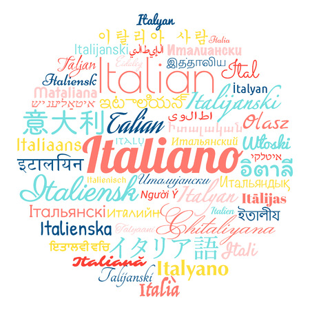 Italian language in languages of the world. Vector illustration.