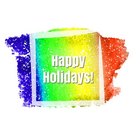 seasonal: Happy holidays seasonal frame for advertisement. Vector illustration.