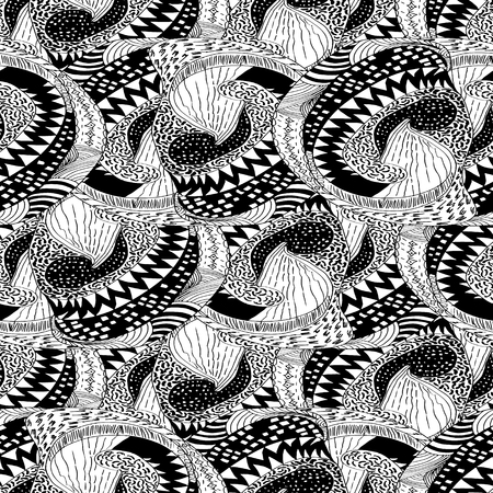 modules: Seamless vector pattern of black and white sketched modules.