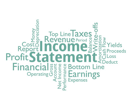 bank statement: Income statement necessary aspects, vector word cloud.