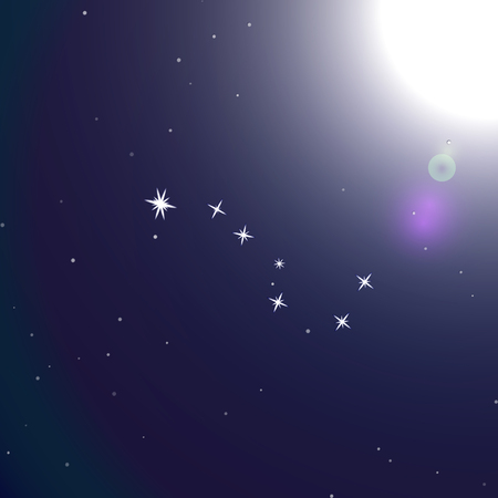hemisphere: Ursa major is a constellation in the northern celestial hemisphere. Space vector background. Illustration