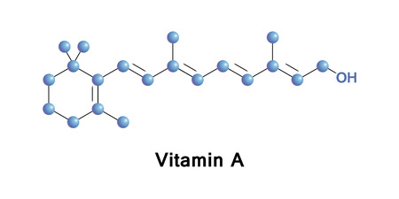 Vitamin A molecular structure, medical vector illustration