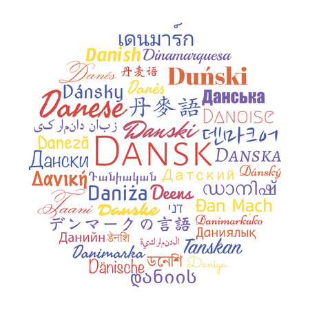 travel collage: Danish language in the  languages of the world. Vector travel collage.