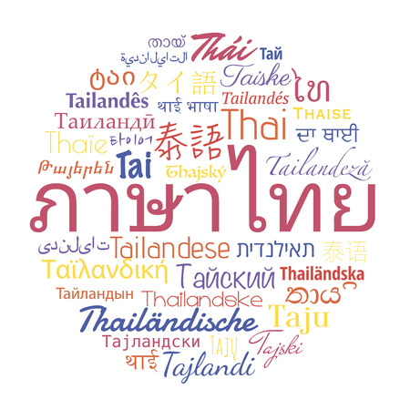 hebrew alphabet: Thai language in the  languages of the world. Vector travel collage.