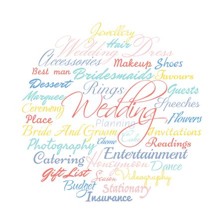 planification de mariage mots liés, Vector cloud illustration.