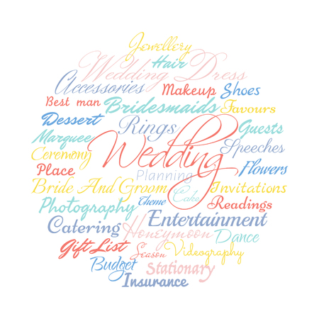 Wedding planning related words, Vector cloud illustration. Çizim