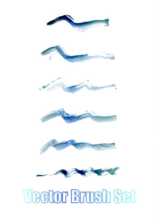 kind: Watercolor. Blue abstract painted ink strokes set on watercolor paper. Ink strokes. Flat kind brush stroke. Illustration