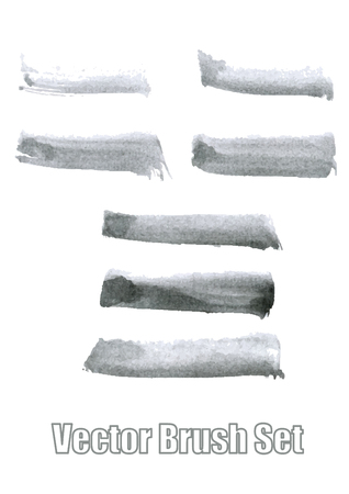 Gray ink brushes set. A watercolor vector illustration.