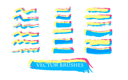 decorative lines: Decorative hand drawn ink brushes collection. Vector bright web banners. Set of paint lines.